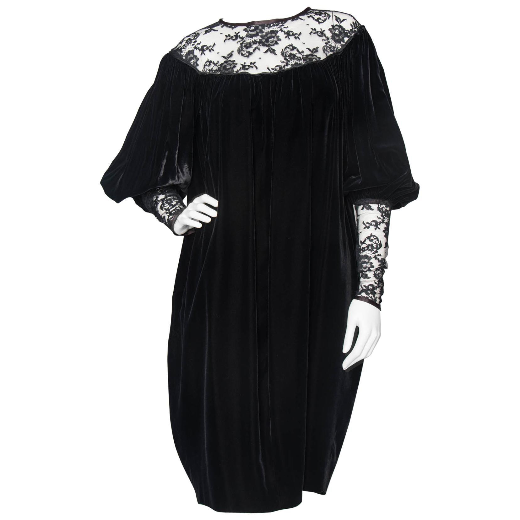 b36e964d724 Yves Saint Laurent Rive Gauche vintage Black Velvet Dress With Lace Detail  at 1stdibs