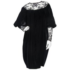 Yves Saint Laurent Rive Gauche vintage Black Velvet Dress With Lace Detail
