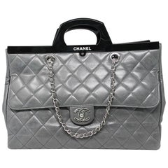 Chanel Black Resin Handle Grey Calfskin Leather Large Shopping Tote