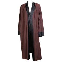 Jean Paul Gaultier Brown Kimono Robe with Black Satin Trim, circa 1990s