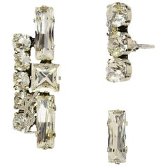 Saint Laurent Silvertone Crystal Smoking Set of Three Clip Earrings