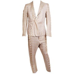 Haider Ackerman Suit with Oscillating Checkered Pattern in Gold and Grey