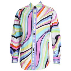 Pucci Multicolor Swirled Print Button Up Shirt, contemporary