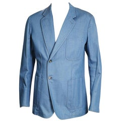 Alexander McQueen Light Blue Denim Blazer with Offset Single Breast Closure