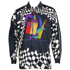 Gianni Versace Multi Graphic Print Button Up Shirt, circa 1980s