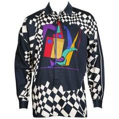 Gianni Versace Multi Graphic Print Button Up Shirt, circa 1980s