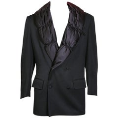 Jean Paul Gaultier Smoking Jacket with Quilted Down Satin Puffer Lapel, c 1990s