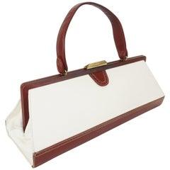 Elongated 1950's J. Miller White & Brown Leather Spectator Handbag