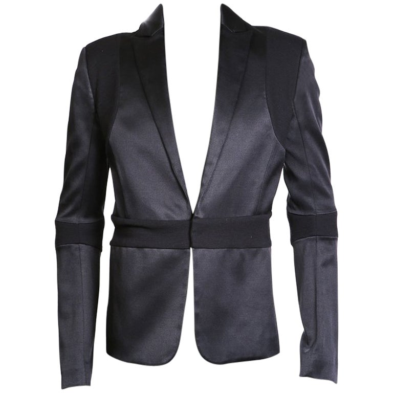 Gareth Pugh Black Silk and Wool Blazer with Banding Detail