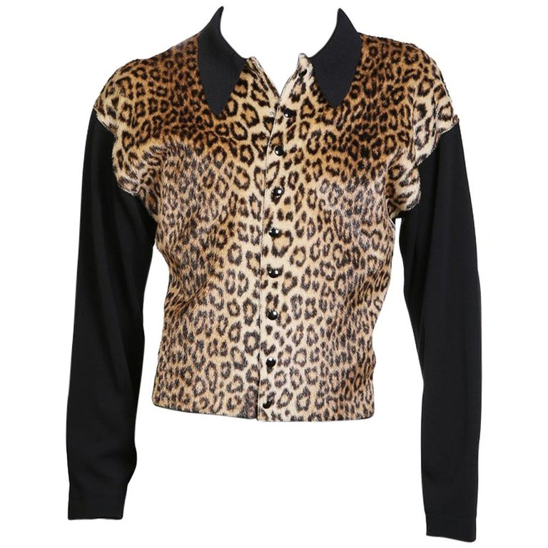 Jean Paul Gaultier Faux Leopard Snap Front Collared Cardigan, circa 1990s