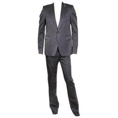 Rick Owens Dark Shadow Marbled Grey Silk Faille Suit