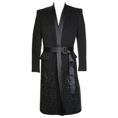 McQueen Cashmere Coat with Satin Trapunto Stitched Collar and Beading Fall 2007