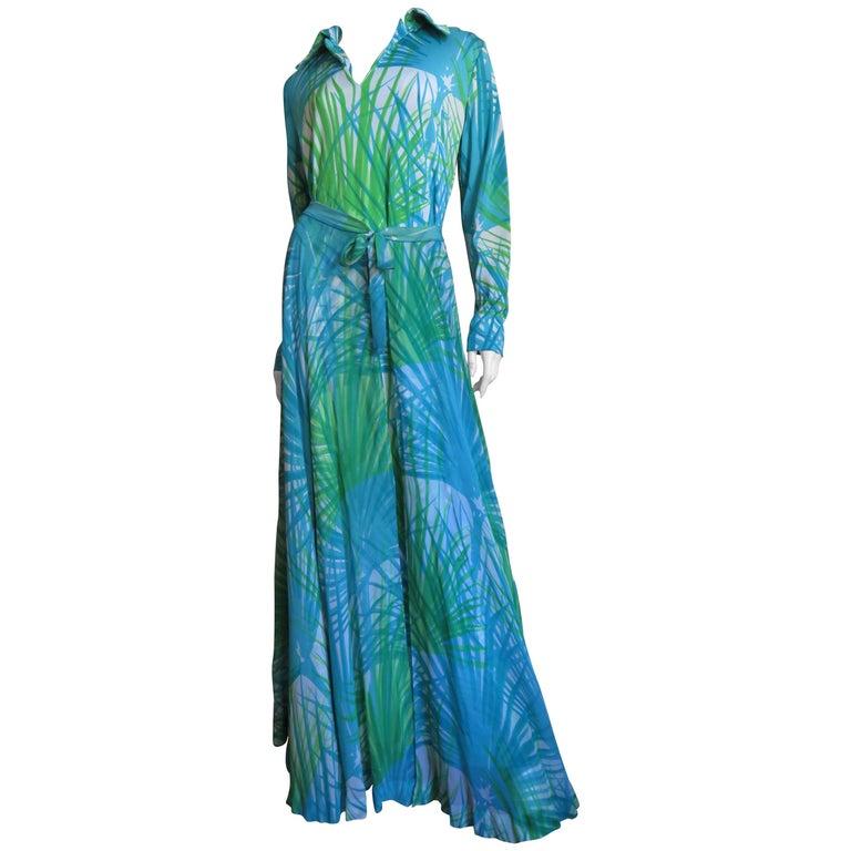 1970s La Mendola Maxi Dress and Silk Over Skirt For Sale