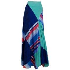 1970 Thea Porter Couture Colorful Patchwork Silk Bohemian Bias-Cut Maxi Skirt