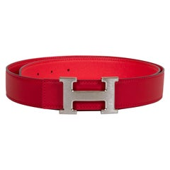 New in Box Hermès Red & Bouganville Reversible H Belt