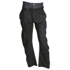 John Galliano Denim and Linen Double Waist Pants
