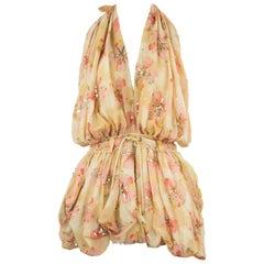 Christian Dior Vintage Floral Print Embellished Halter Top