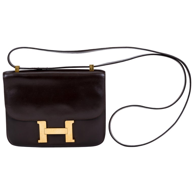 Hermès Vintage 70's Brown Box Constance Crossbody Bag
