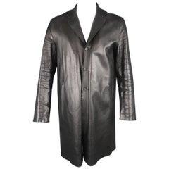 PRADA 44 Black Leather Three Button Notch Lapel Coat