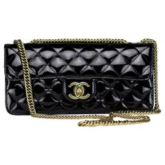 Chanel Long Rare Vintage Patent Leather Classic Flap Bag Bijoux Chain