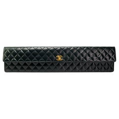 Chanel 80s Black Lambskin Extra Long Elongated Classic Flap Clutch