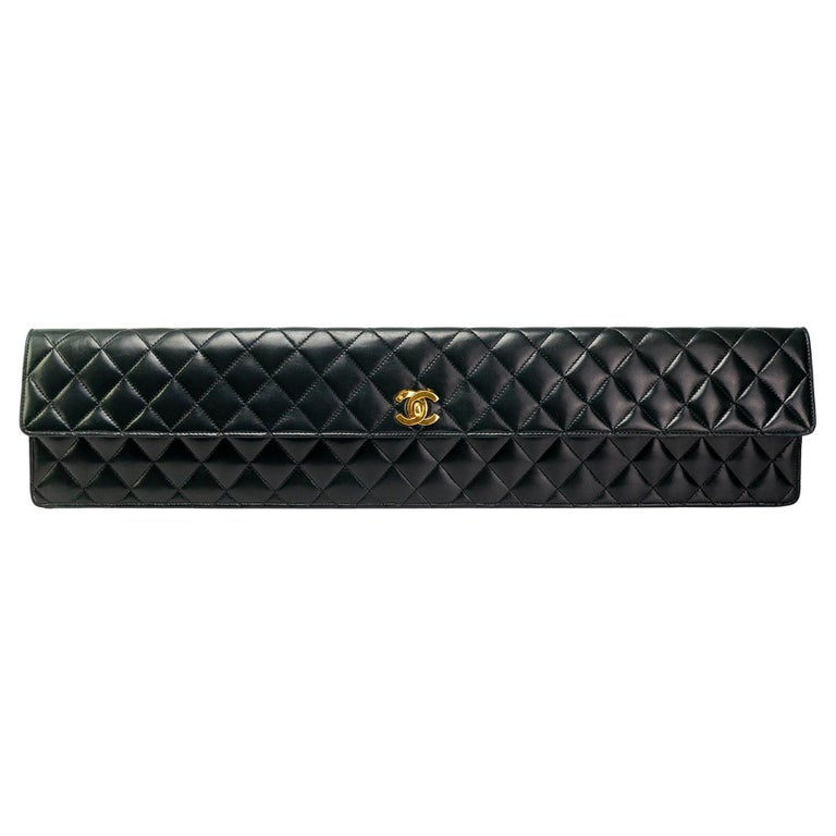 Chanel Black Lamsbkin Extra Long Elongated Classic Flap Clutch