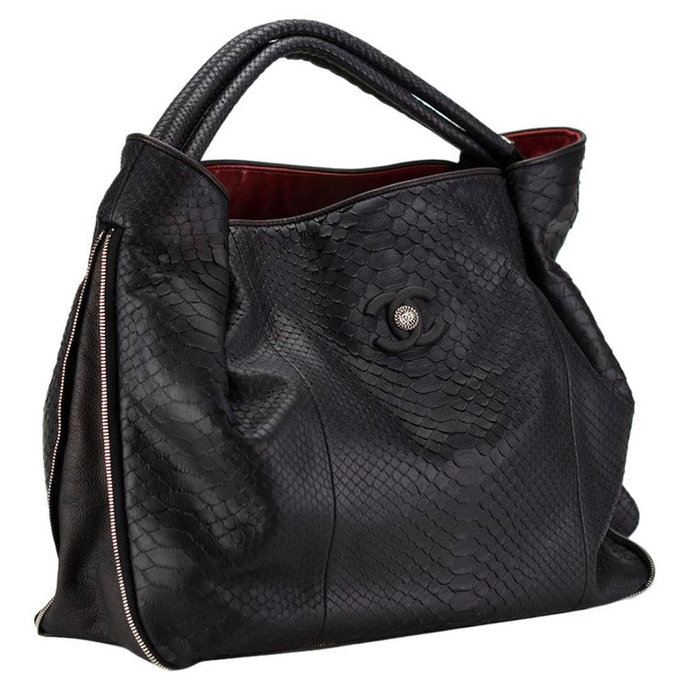 Chanel Boating Python Large Classic Shopper Zippered Expandable Tote For Sale