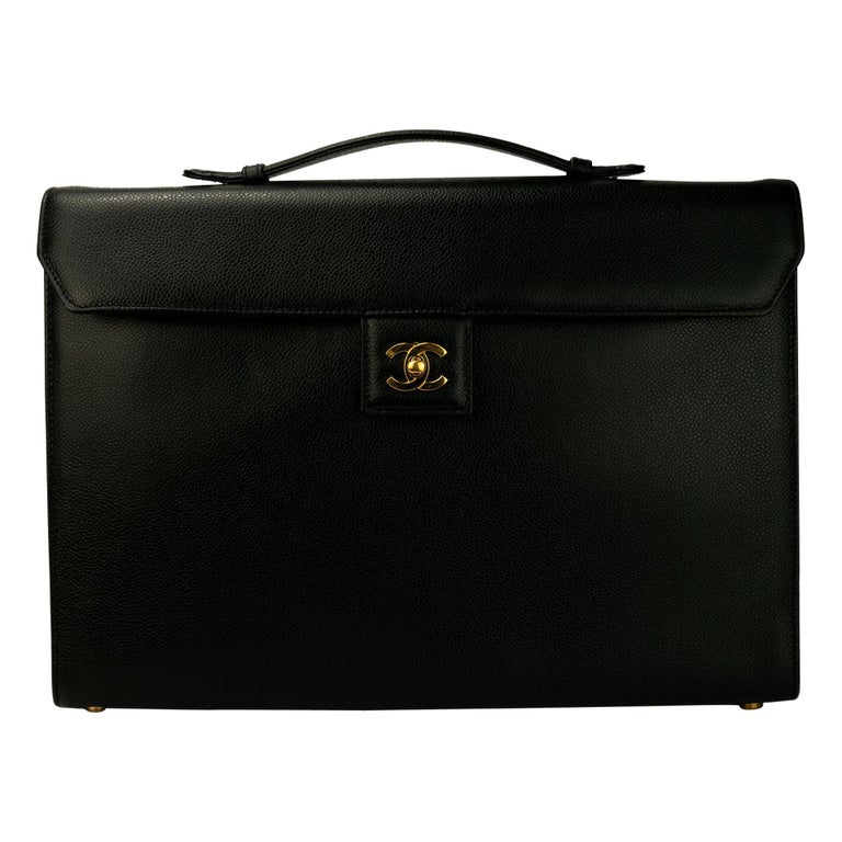 Chanel Rare Vintage Caviar CC Flap Executive Briefcase Portfolio Laptop Bag