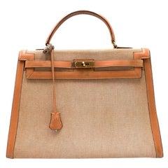 Hermes Barenia Leather & Canvas Vintage 35cm Kelly Bag