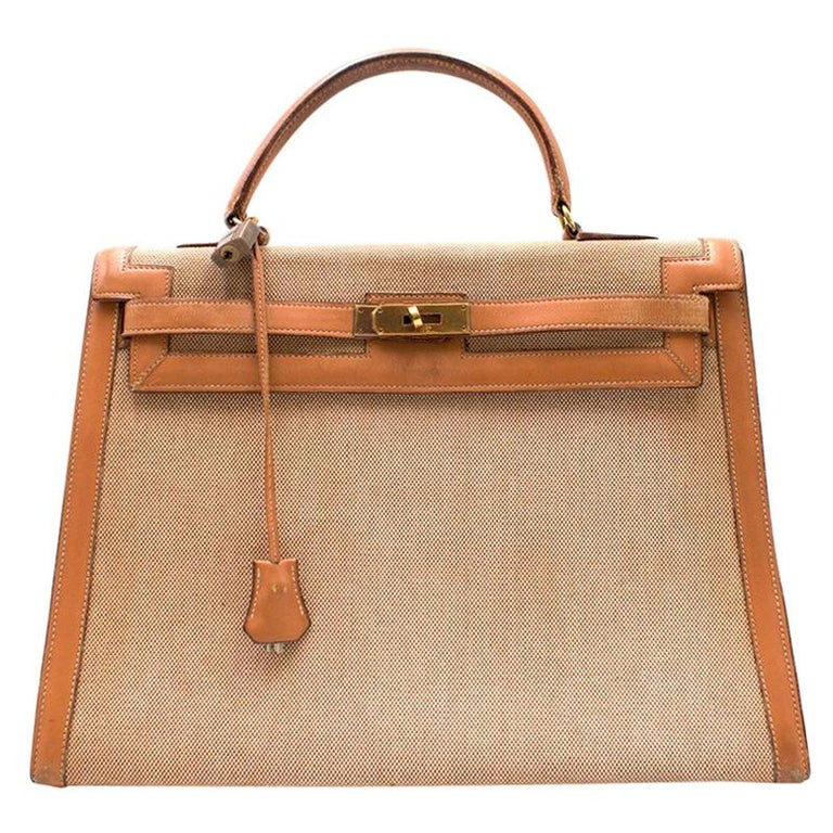 4b8ded015228 Hermes Barenia Leather and Canvas Vintage 35cm Kelly Bag For Sale at ...