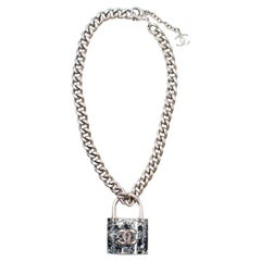 Chanel Silver-tone CC Resin Padlock Necklace