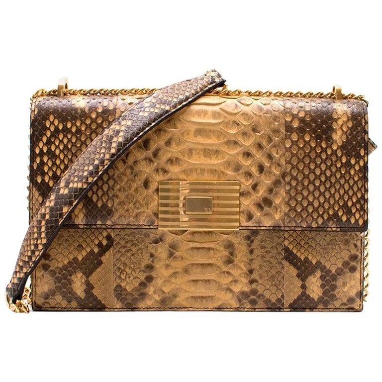 Ralph Lauren Python RL Chain Bag For Sale at 1stdibs 9ffb19836ab2a