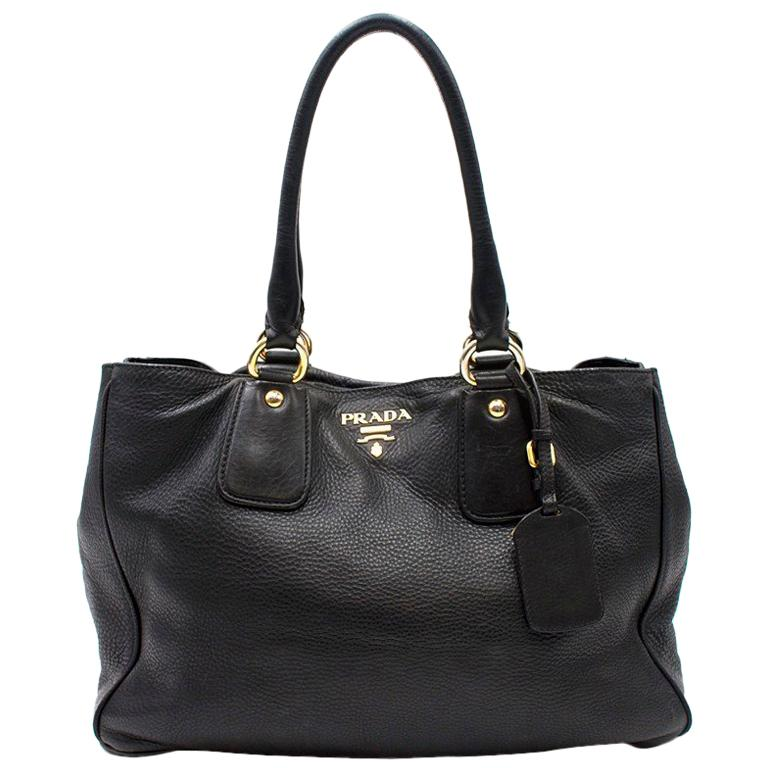 Prada Black Soft Leather Tote Bag For