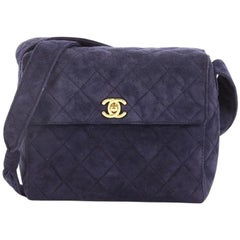 Chanel Vintage Top Handle Flap Bag Quilted Suede Small
