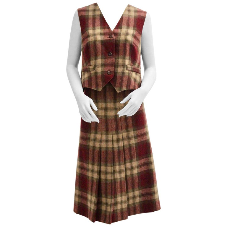 Wool Vintage Tartan Set Skirt and Gilet 1980s