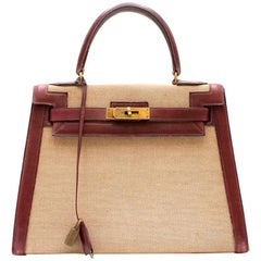 Hermes Box Leather and Canvas 28cm Vintage Kelly Retourne Bag