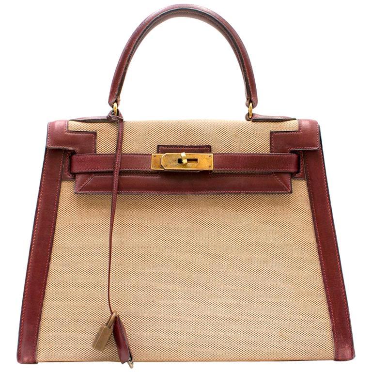 Hermes Box Leather and Canvas 28cm Vintage Kelly Retourne Bag