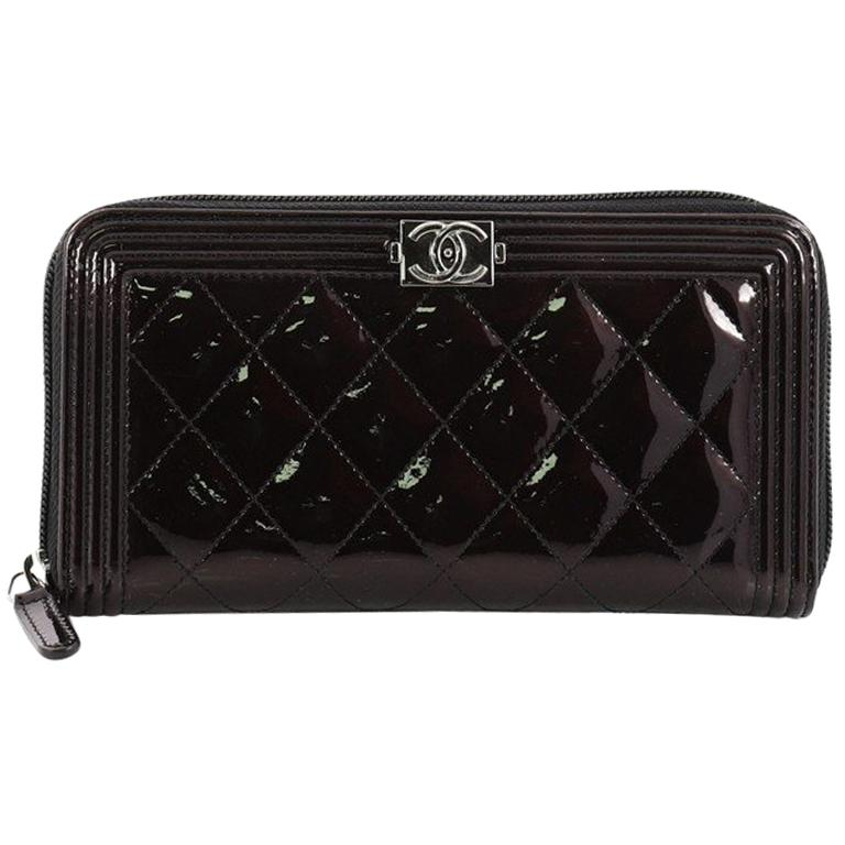 5fac2fdfd575 Chanel Boy L-Gusset Zip Wallet Quilted Patent Long at 1stdibs