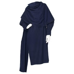 A 1980 Vintage Draped Yohji Yamamoto Y'S Midnight Blue Wool Dress