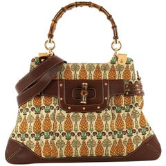 Gucci Pop Bamboo Handle Bag Pigna Canvas with Studded Leather Large