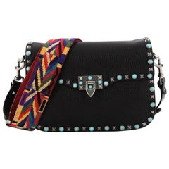 Valentino Rolling Rockstud Crossbody Bag Leather with Cabochons Medium