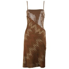 Missoni Vintage Brown Bronze and Gold Metallic and Sequin Dress