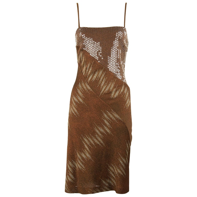 78609afe7 Missoni Vintage Brown Bronze and Gold Metallic and Sequin Dress For Sale