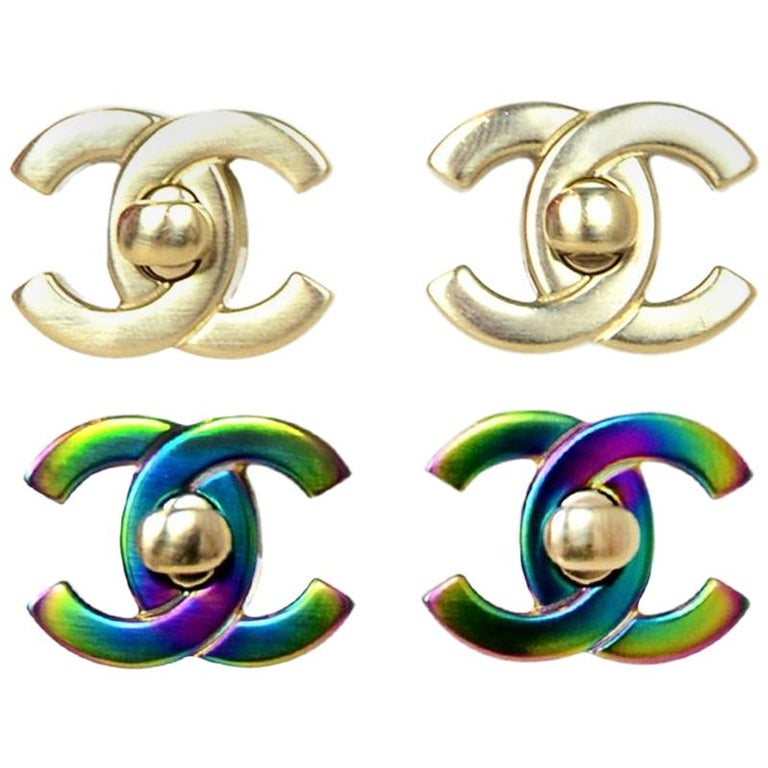 561b8df487f7a Chanel Gold / Iridescent Convertible CC Twist-lock Pierced Earrings, 2018