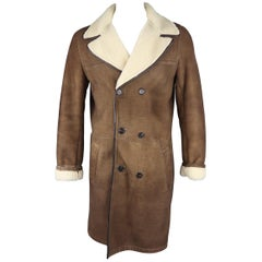 PRADA 44 Light Brown Shearling Double Breasted Coat