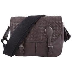 Bottega Veneta Gardena Messenger Bag Cervo Leather with Intrecciato Detail Small
