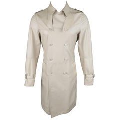 Emporio Armani Khaki Beige Leather Double Breasted Trenchcoat