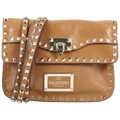 Valentino Rockstud Foldover Convertible Shoulder Bag Leather