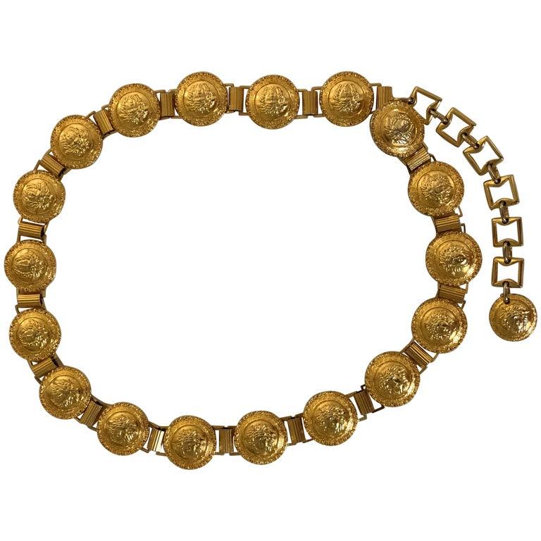 d4a47cd97b84 Gianni Versace Gold Medusa Belt at 1stdibs