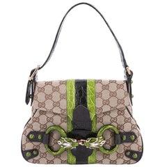 Gucci Jeweled Dragon Bag GG Canvas with Crocodile Small